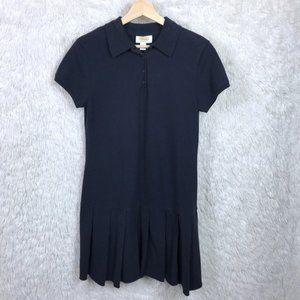 Talbots Pleated Polo Dress Blue Drop Waist Petite
